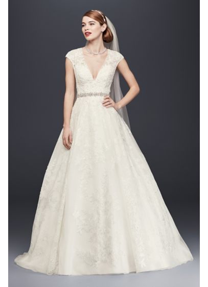 296c277aea Oleg Cassini V-Neck Cap Sleeve Wedding Dress | David's Bridal