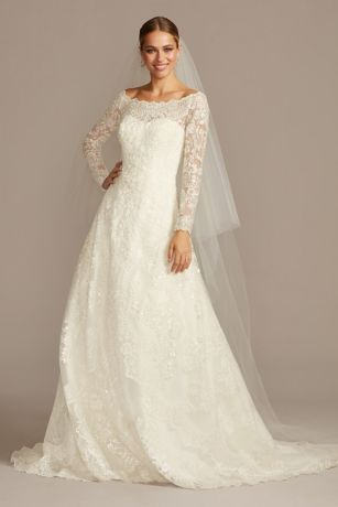 Off-The-Shoulder Lace A-Line Wedding Dress | David\'s Bridal