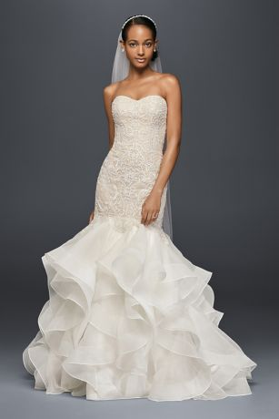 Scroll lace trumpet wedding dress davids bridal long mermaid trumpet formal wedding dress oleg cassini mouse over to zoom junglespirit Images