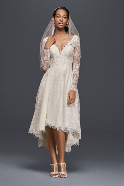 High Low Chantilly Lace Wedding Dress Davids Bridal