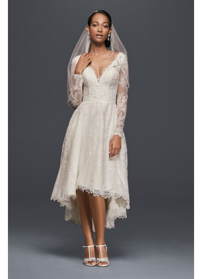 High Low Chantilly Lace Wedding Dress