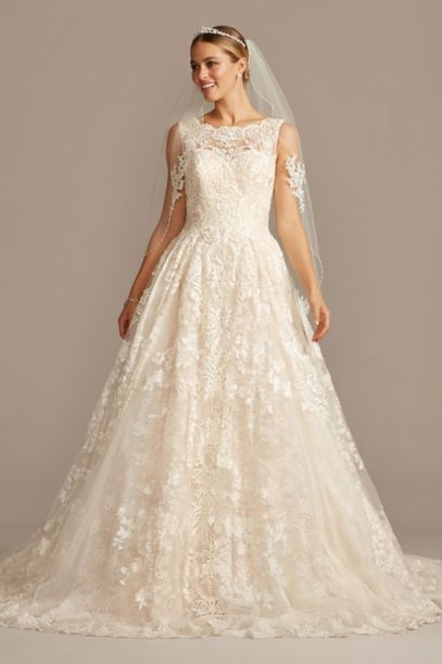 Beaded Lace Wedding Dress With Pleated Skirt David S Bridal