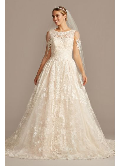 3b6a88d40b Beaded Lace Wedding Dress with Pleated Skirt. CWG780. Long Ballgown Formal Wedding  Dress - Oleg Cassini