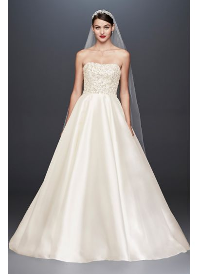 Crystal Encrusted Mikado Ball Gown Wedding Dress - The height of wedding day opulence, this Oleg