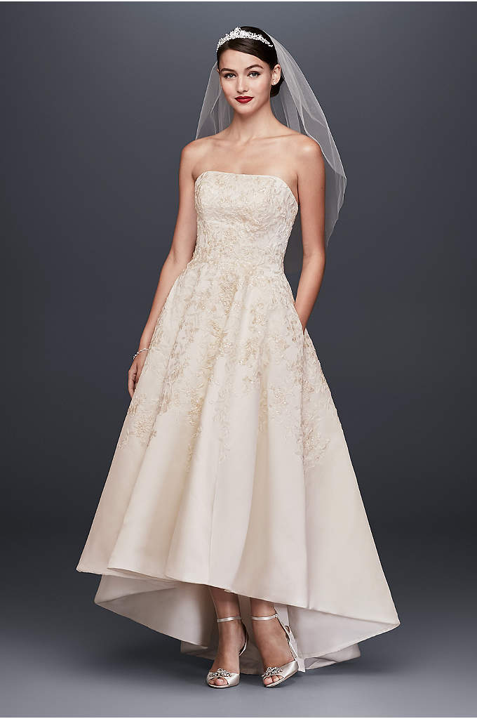 Embroidered Satin High-Low Wedding Dress - This satin ball gown features Oleg Cassini's signature