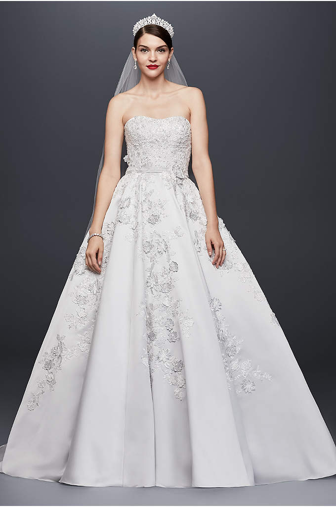 Oleg Cassini 3-D Floral Satin Wedding Dress - This platinum satin ball gown is opulently adorned