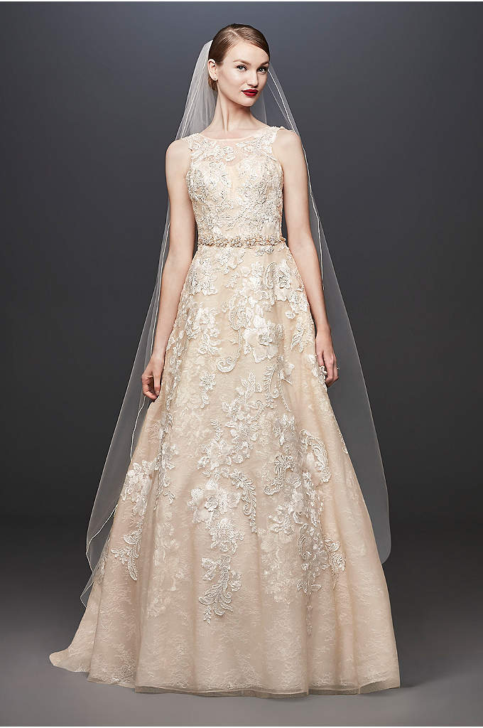 Lace and 3D Floral A-line Wedding Dress - This stunning lace gown features a high neck