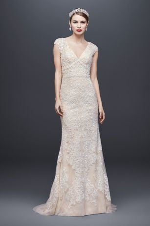 Cap Sleeve Plunging V-Neck Sheath Wedding Dress | David's Bridal | Tuggl