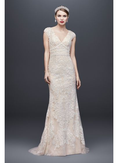 Cap Sleeve Plunging V-Neck Sheath Wedding Dress - Opulent in every way, this Oleg Cassini sheath