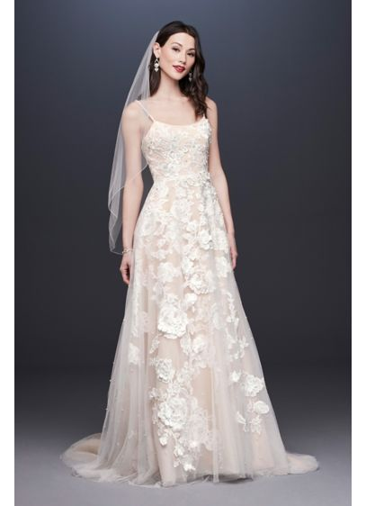 Organza A-Line Wedding Dress with Ballerina Bodice - Shimmering pearls take center stage on this light