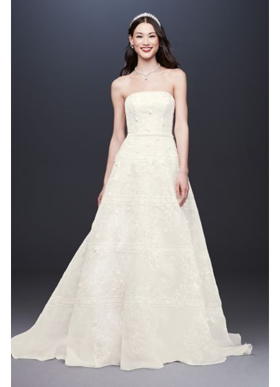 Organza Banded Wedding Dress with Sequin Appliques - An unexpected take on opulence, this organza A-line