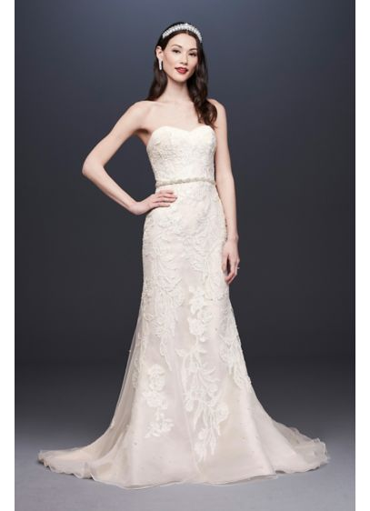 Pearl-Detailed Lace Mermaid Wedding Dress - Luminous pearl beading and a shimmering metallic underlayer