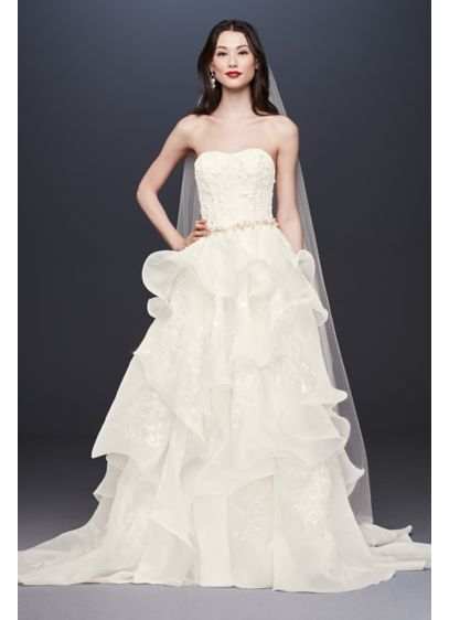 Floral Applique Wedding Dress with Tiered Skirt - An elegant union of softness and structure, this