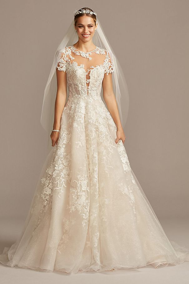 Lace Illusion Cap Sleeve Ball Gown Wedding Dress