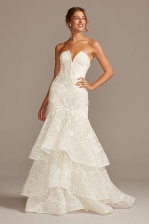 notchneck lace corset mermaid wedding dress  david's bridal