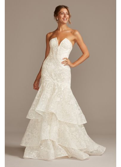 Notch-Neck Lace Corset Mermaid Wedding Dress - Crafted of scrolling baroque lace from the corset-boned