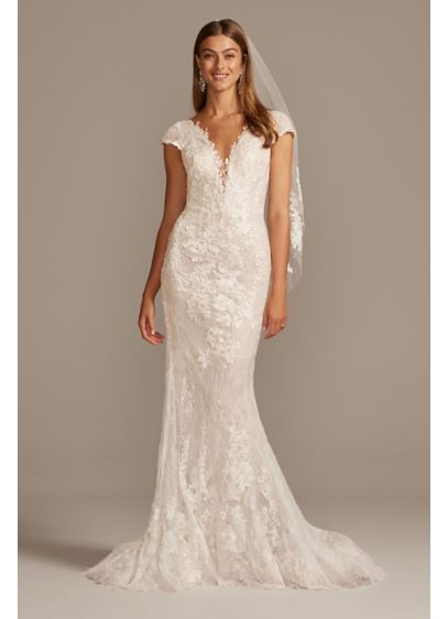 Chantilly Lace Cap Sleeve Mermaid Wedding Dress - Allover Chantilly layered lace gives this illusion cap