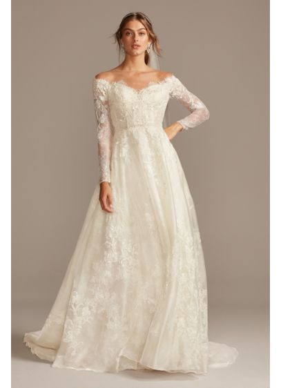 Shimmer Lace Long Sleeve Applique Wedding Dress - Metallic-tipped lace floats above a layer of shimmering