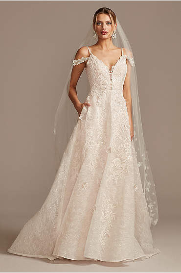 Beaded Applique Wedding Dress with Swag Sleeves