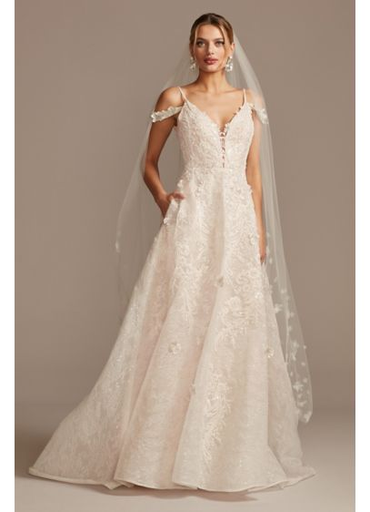 Beaded Applique Wedding Dress with Swag Sleeves - 3D-floral appliques and intricate beaded lace embellishments cover
