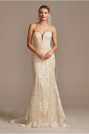 Beaded Scroll and Lace Mermaid Wedding Dress