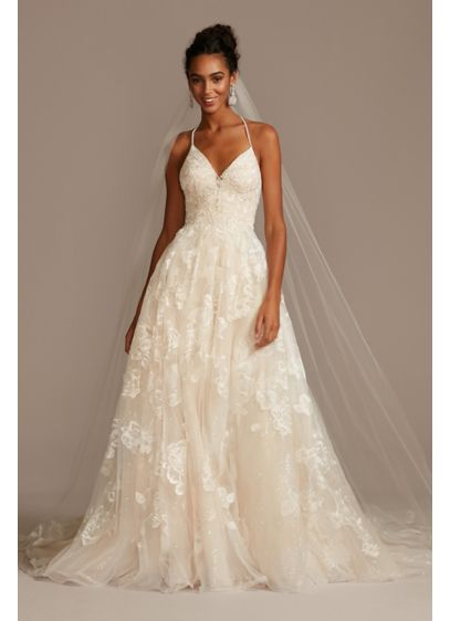 Large Floral Applique Beaded Strap Wedding Dress - Crafted with eleven different types of lace and