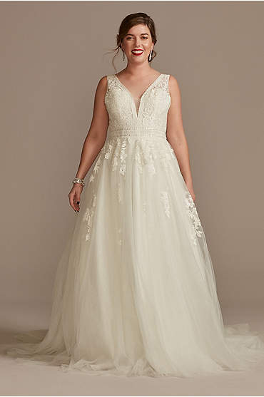 Embroidered V-Neck Wedding Dress with Tulle Skirt