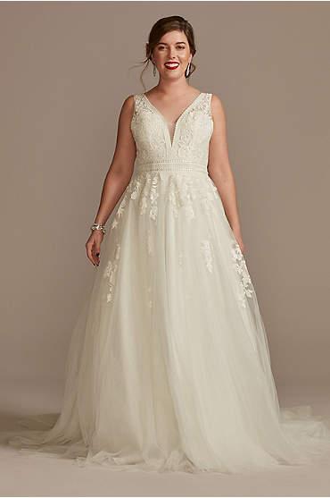 Embroidered V-Neck Wedding Dress with Tulle Skirt