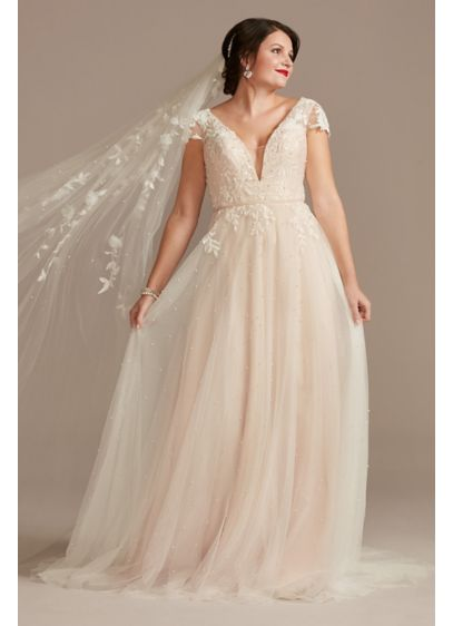 Cap Sleeve Pearl Tulle Wedding Dress with Low - The soft romance of cap sleeves and a