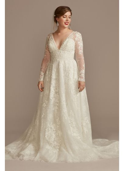 Lace Long Sleeve Keyhole Back Wedding Dress - Fit for royalty, this elegant tulle ball gown