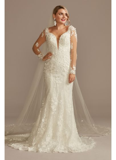 3D Floral Illusion Sleeve Plunge Wedding Dress - The overall elegance of this illusion long sleeve
