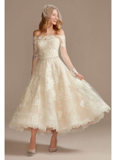 Off Shoulder Applique Tea-Length Wedding Dress - This tea-length wedding dress is detailed with three