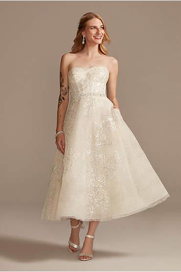 Floral Glitter Tulle Tea-Length Wedding Dress