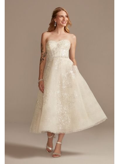 Floral Glitter Tulle Tea-Length Wedding Dress - Brimming with both shine and style, this strapless