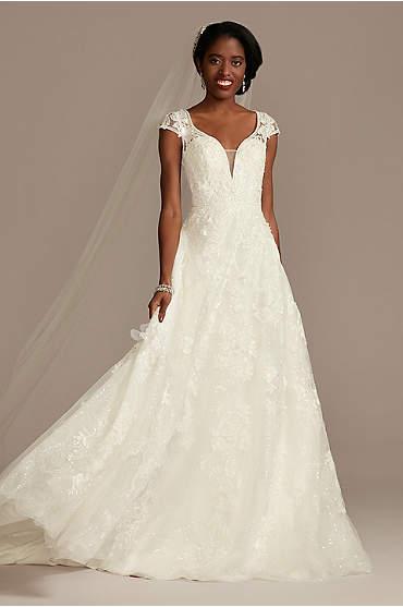 Cap Sleeve 3D Floral Lace Open Back Wedding Dress