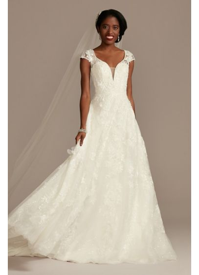 Cap Sleeve 3D Floral Lace Open Back Wedding - This sequin lace A-line wedding dress is full