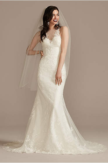 Buttoned Illusion Back Wedding Dress with Applique