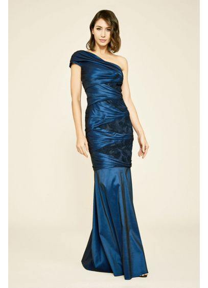 Carina Pleated One-Shoulder Taffeta Mermaid Gown - Pleated taffeta and lace insets give this one-shoulder