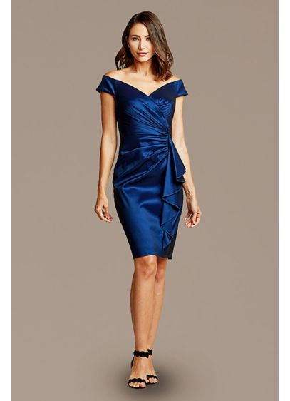 Off-the-Shoulder Taffeta Cocktail Dress - A chic option for weddings and other special