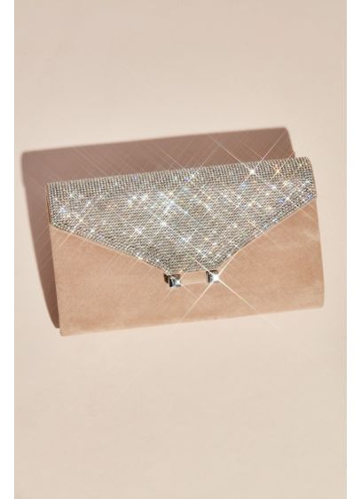 Vegan Suede Clutch with Crystal Embellished Fold - Wedding Accessories