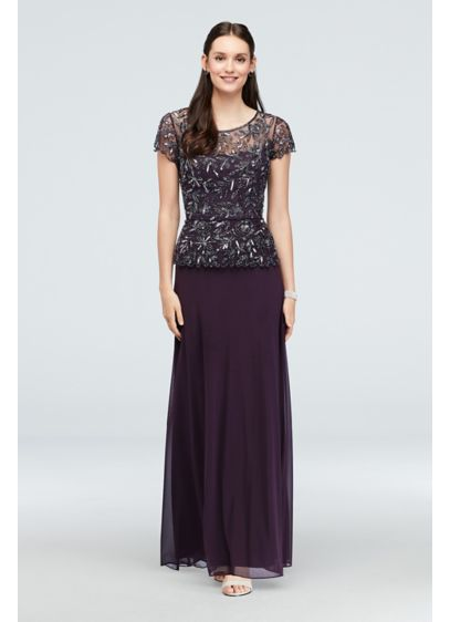 Floral Beaded Illusion Bodice Gown - Glamorously beaded and sequined flowers take center stage