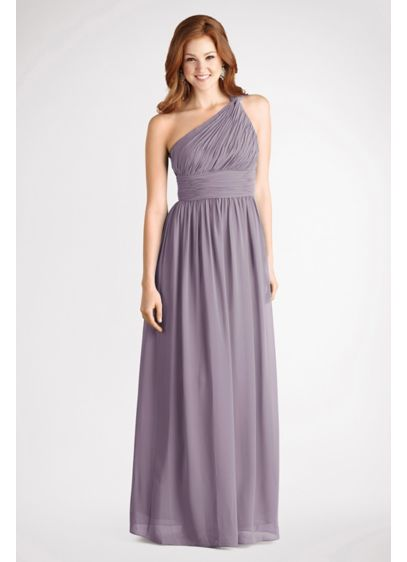 Rachel Chiffon One Shoulder Bridesmaid Dress D1295mdb Long Grey Soft Flowy Donna Morgan
