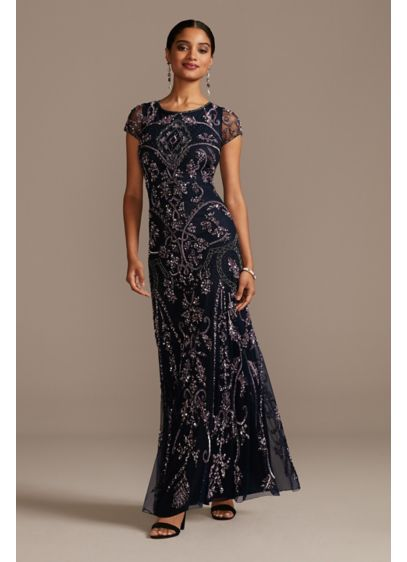 Bead and Sequin Embellished Scoopneck Mesh Gown - A scroll pattern of sequins and beads embellishes