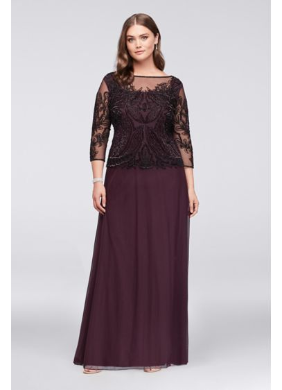 Long A-Line 3/4 Sleeves Formal Dresses Dress -