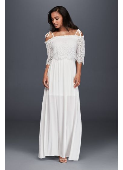 Long Sheath Romantic Wedding Dress - Soieblu