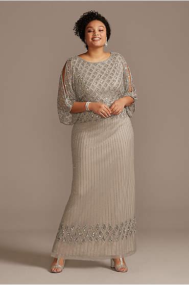 Beaded Cold Shoulder Ankle-Length Plus Size Dress