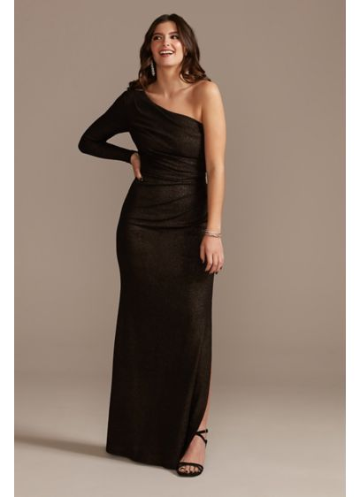 Long One-Shoulder Ruched Glitter Sheath Dress - Crafted of a textured glitter fabric, this timeless