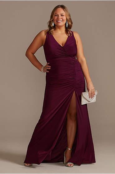 Ruched Jersey V-Neck Tank Plus Size Sheath Dress
