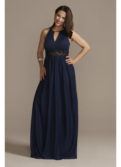 High-Neck Chiffon Gown with Keyholes - This floor-length chiffon gown stuns from head to