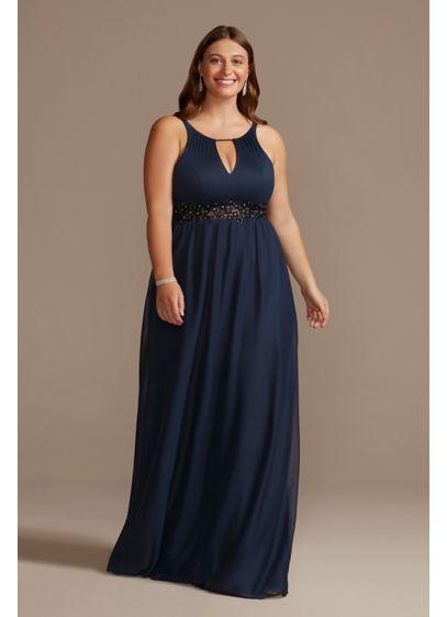 Long Blue Soft & Flowy DB Studio Bridesmaid Dress
